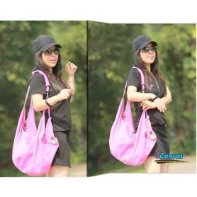 pink Spring canvas shoulder women bag