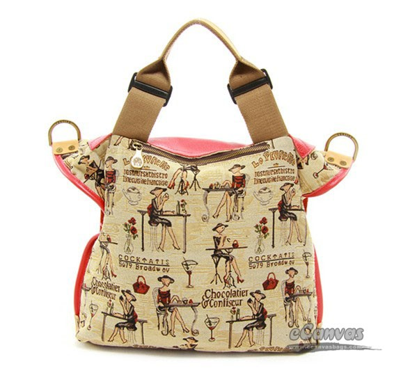 Canvas messenger bag, khaki cute handbag, ladies handbag - E ...