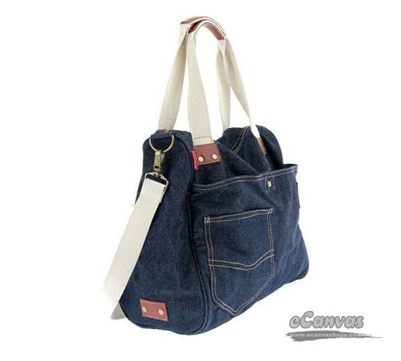 Denim tote, dark blue fashion bag, denim handbag