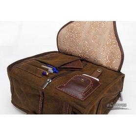 khaki over the shoulder travel bag