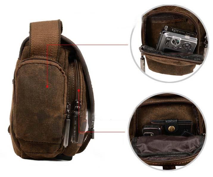 Canvas Side Bag Khaki Travel Shoulder Bag For Women Mens Messenger Bag E Canvasbags