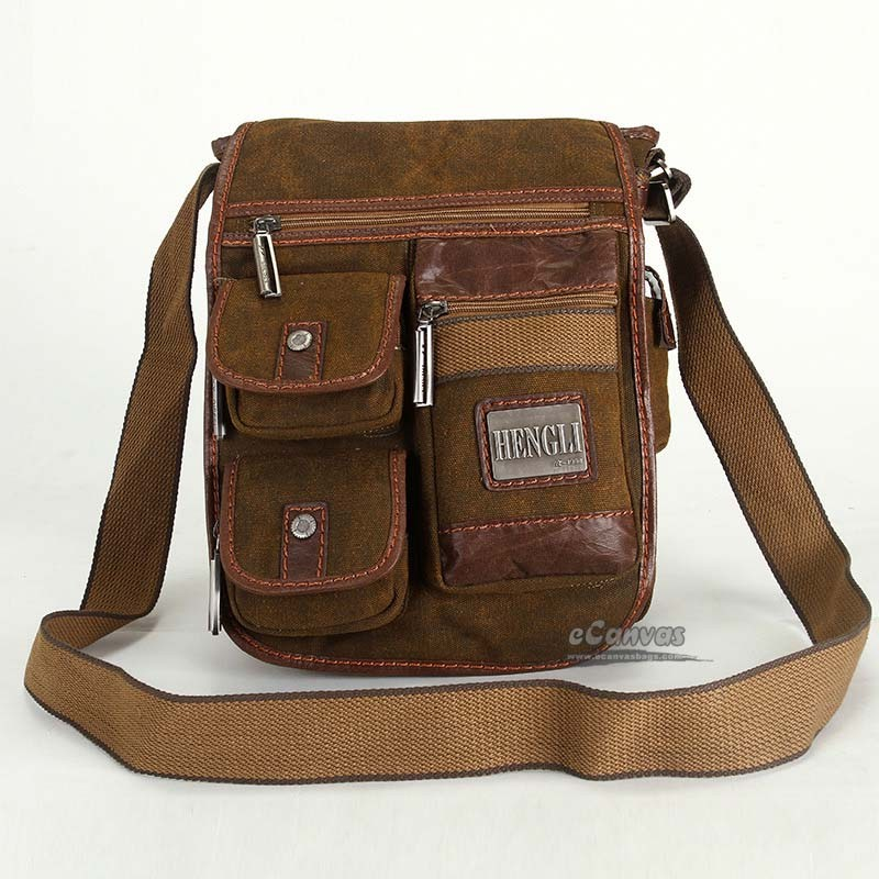 Medium man bag, khaki crossbody travel bag, canvas messenger bag ...