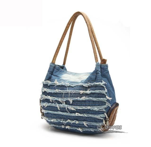 Womens travel tote bag, blue hobo handbag, denim hobo bag - E ...