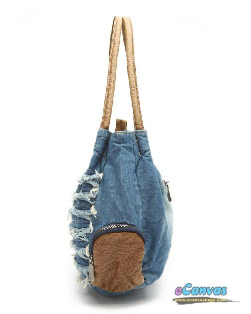 Womens travel tote bag, blue hobo handbag, denim hobo bag