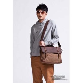 khaki canvas shoulder bag