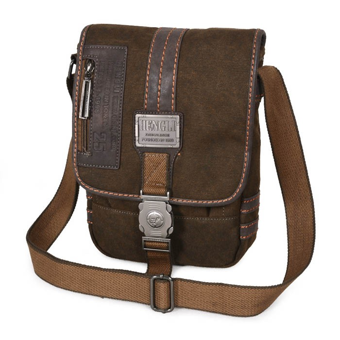 Mens bag, mens canvas messenger bag, khaki messenger school bag ...