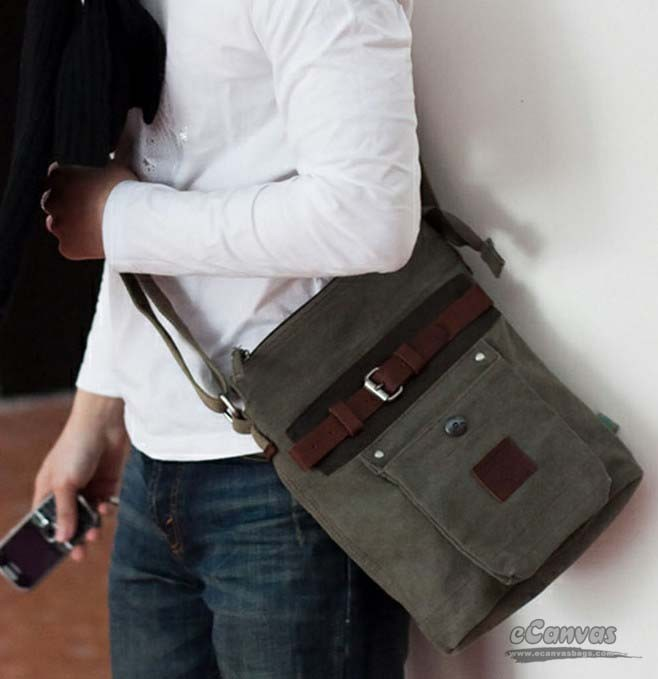 Personalized messenger bag for men, army green most popular ...