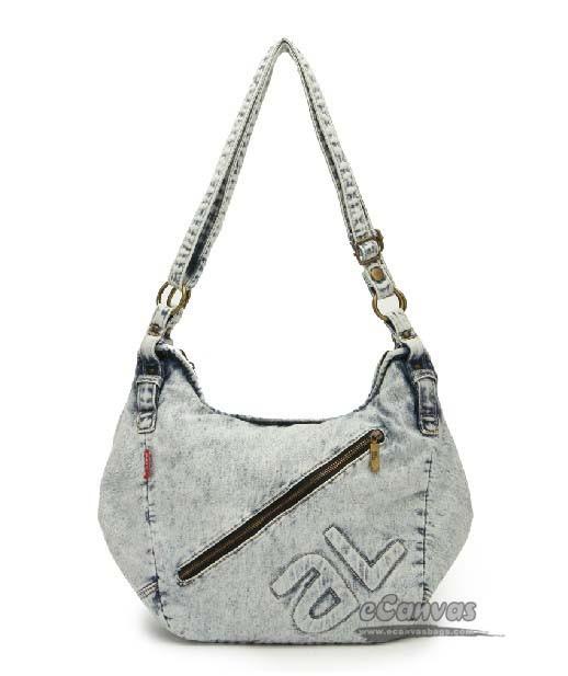 Messenger bag for girls school, denim old school bag, white womens bag