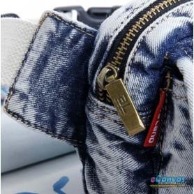 white Denim hip bag belt