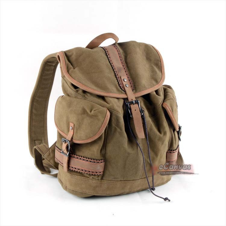 Retro fashion backpack, khaki good backpack, heavy duty backpack