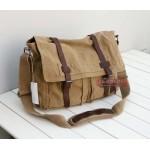 Vintage messenger bag men, messenger bag for school, khaki messenger bag strap