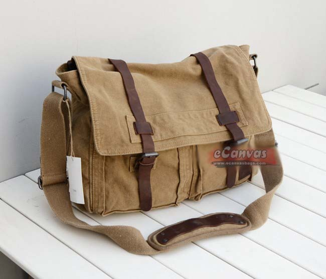 Vintage messenger bag men, messenger bag for school, khaki ...