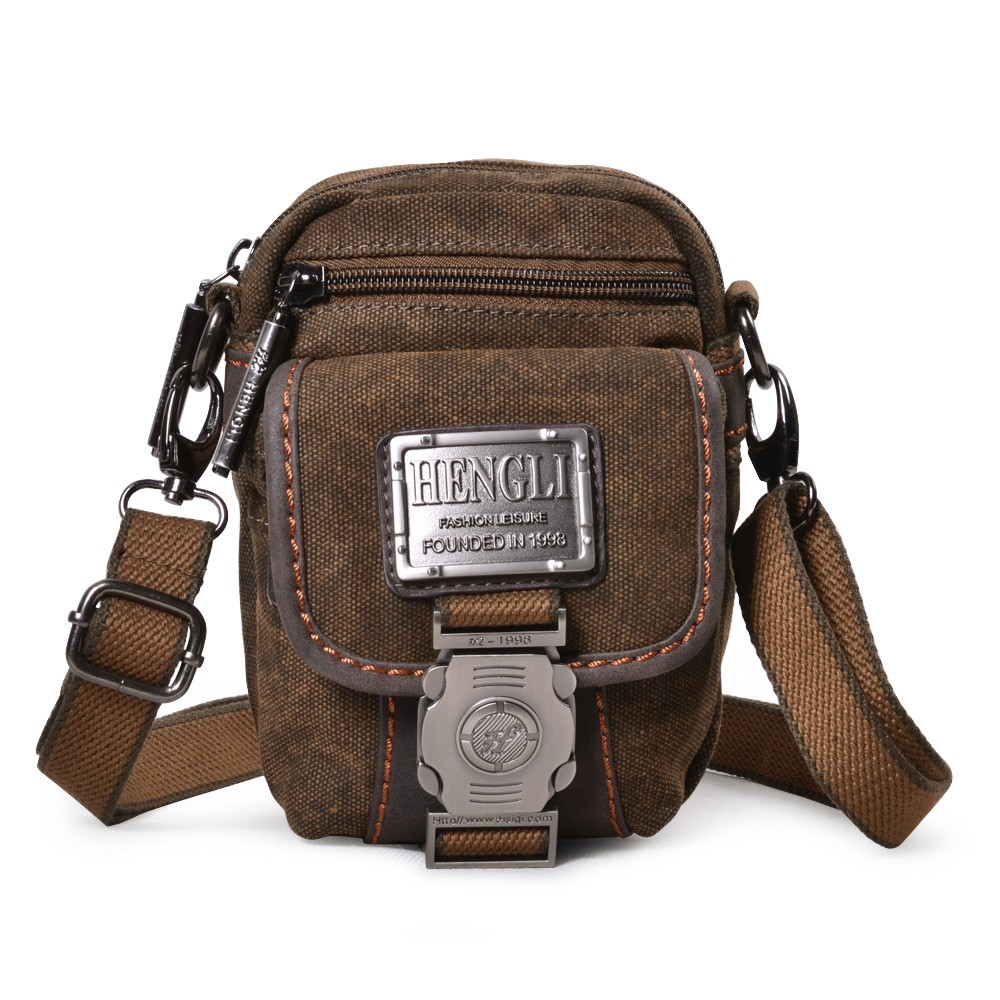 Canvas messenger bags for men, khaki waist pouch, waist purse - E ...