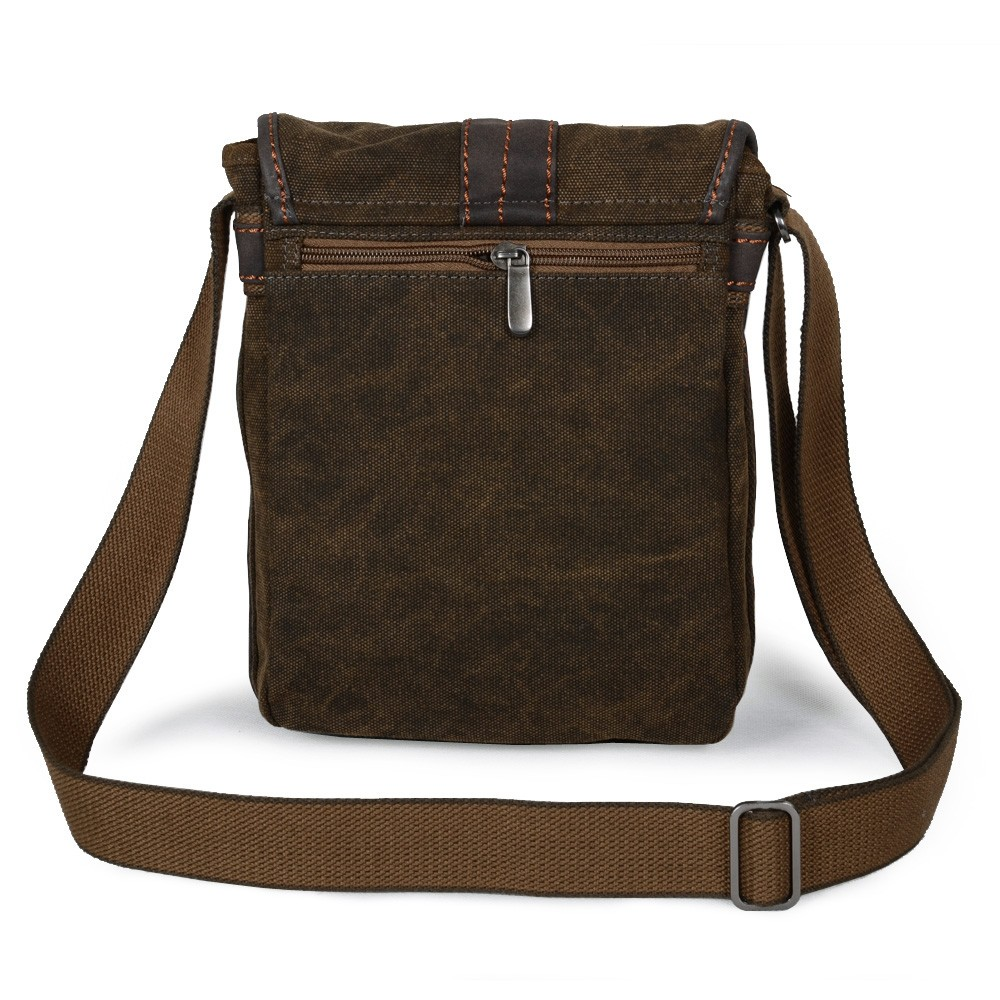 Canvas messenger bag men, khaki cross body bag - E-CanvasBags
