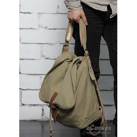 mens khaki slouchy backpack