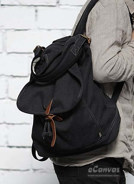 Rugged Backpack Coffee Black Bucket Bag Khaki Slouchy