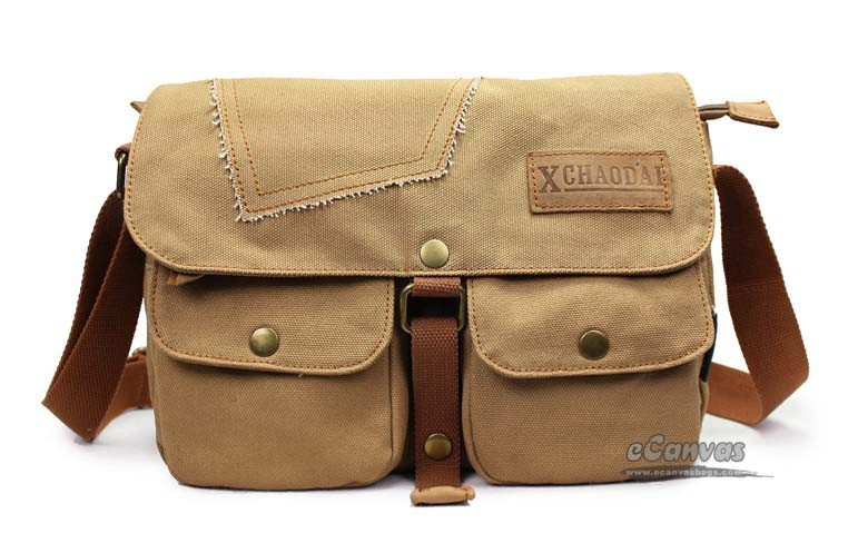 Best shoulder bag coffee, khaki distressed messenger bag - E ...