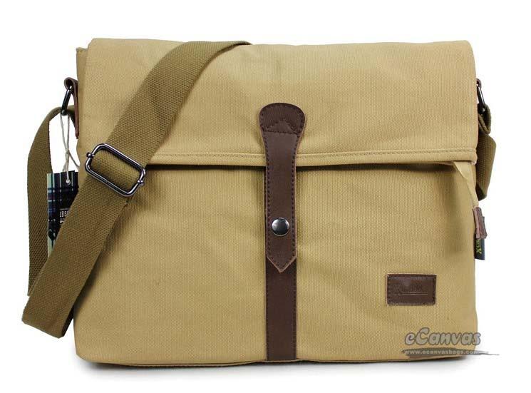 Satchel bag khaki, beige professional messenger bag - E-CanvasBags