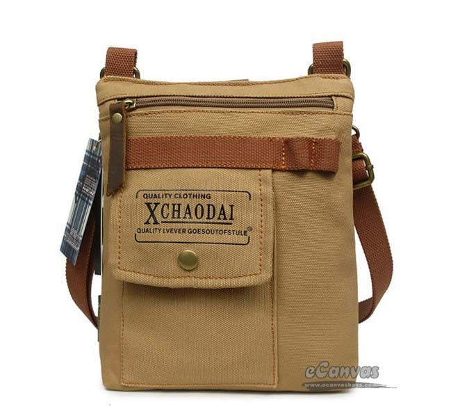 Small messenger bag for men, khaki sports fanny pack - E-CanvasBags