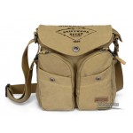 Recycled messenger bag khaki, army green book bag