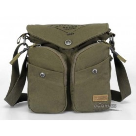 Recycled messenger bag khaki, army green book bag - E-CanvasBags