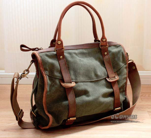 Canvas messenger handbag blue, army green messenger bag school - E ...