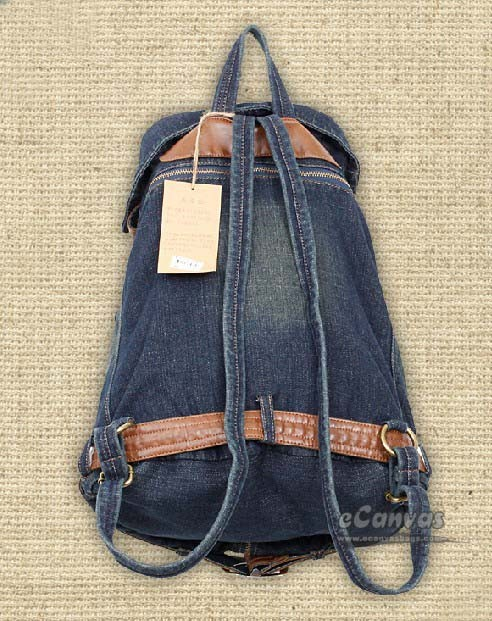 Jeans bag, navy backpack purse for women - E-CanvasBags