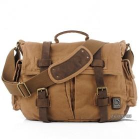 Khaki Canvas Laptop Messenger, 14 inches laptop bag