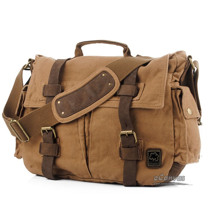 Khaki Canvas Laptop Messenger, 14 inches laptop bag - E-CanvasBags