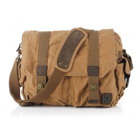 Khaki canvas computer parcel for men, canvas laptop bag