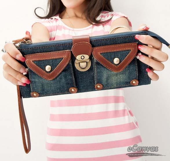 Small messenger bags for women, navy denim wallet - E-CanvasBags