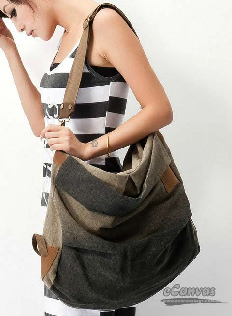 Large messenger bag for school, hobo messenger bag - E-CanvasBags