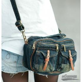 Girls messenger bag for school, navy denim messenger bag