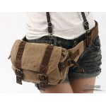 Canvas fanny pack, khaki fashion waist pack