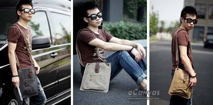 Mens messenger bags canvas, mini messenger bag - E-CanvasBags