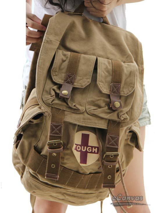 Travel Rucksack Khaki Unique Backpack E Canvasbags