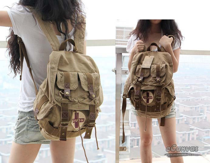 Travel rucksack, khaki unique backpack - E-CanvasBags