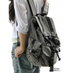 Travelling backpack grey, khaki trendy backpack