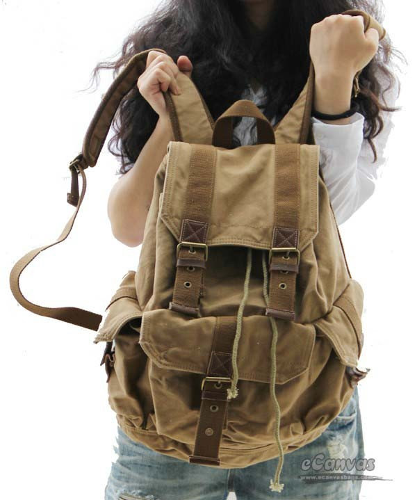 d1c858d6764b84 Travelling backpack grey, khaki trendy backpack - E-CanvasBags