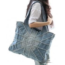 Plain canvas tote bag, blue jean handbag