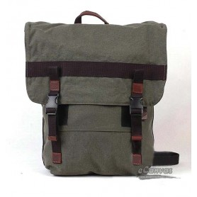 Travel Carry-on Duffle Bag, Organic Canvas Backpack, beige & army green