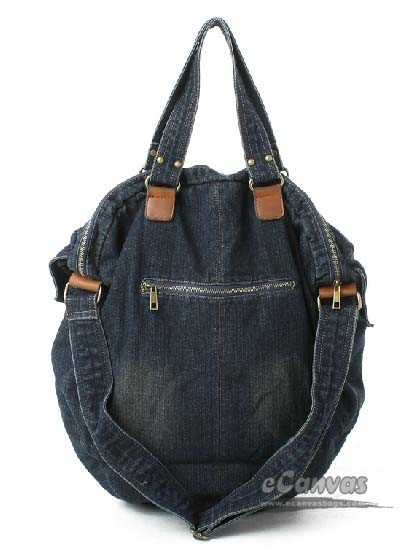Denim crossbody bag, blue jean book bag - E-CanvasBags
