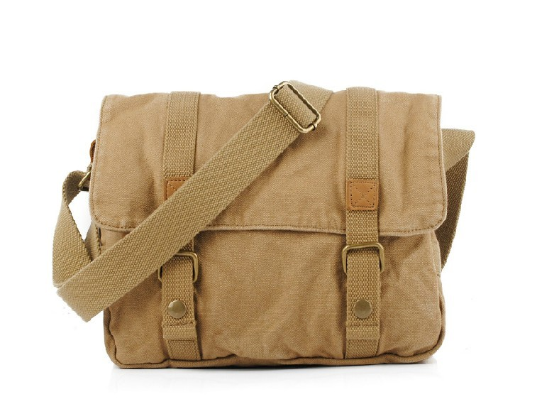 Canvas messenger bag, mens book bag, yellow, khaki - E-CanvasBags