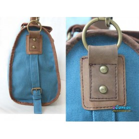 Canvas handbag real leather