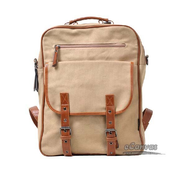 Backpacks for women khaki, black book bag - E-CanvasBags