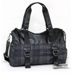 black plaid Canvas Messenger Shoulder Bag