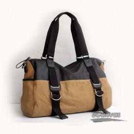 khaki Canvas Messenger Shoulder Bag