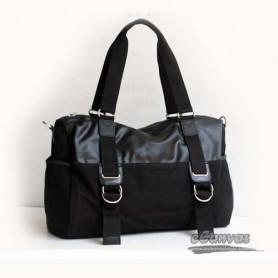 black Canvas Messenger Shoulder Bag