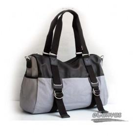 grey Canvas Messenger Shoulder Bag