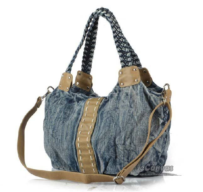 Recycled denim handbag, blue jean handbag shoulder bag